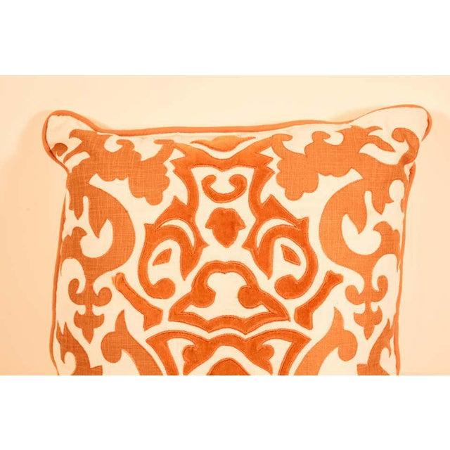 Gold Decorative Silk Velvet Applique Throw Pillow For Sale - Image 8 of 11