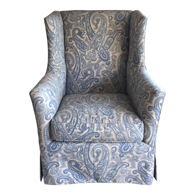 Ralph Lauren Blue Paisley Custom Upholstered Hickory White Club Chair For Sale