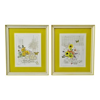 Mid Century Turner Wall Art Mixed Media Floral Prints - a Pair For Sale