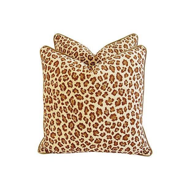 Custom Safari Leopard Velvet Pillows - a Pair - Image 4 of 7