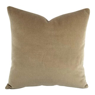 Modern Brunschwig & Fils Autun Mohair Cobblestone Velvet Pillow Cover For Sale