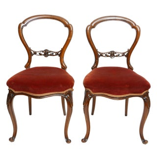 Pair of Walnut Balloon Back Side Chairs, English Victorian 19th Century For Sale
