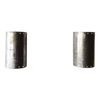Post Modern Ron Rezek Galvanized Sheet Metal Sconces - a Pair For Sale