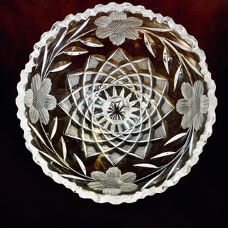 C.1900 American Brilliant Period Floral Cut Glass Compote Bowl Preview