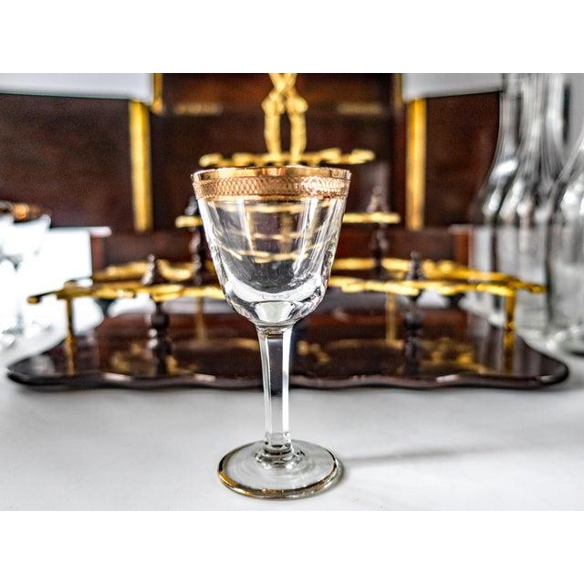 Antique French Tantalus Burlwood Hidden Liquor Cabinet & Glasses - Set of 8 For Sale In Houston - Image 6 of 12