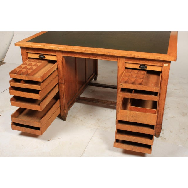 1930s Newspaper Office Partners Desk For Sale - Image 12 of 13