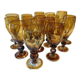 Amber Water Goblets/Glasses - Set of 16
