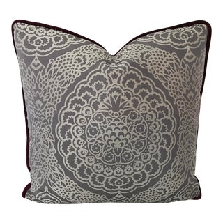 "Manuel Canovas Lilac & White, New, One of a Kind, 20"" Pillow For Sale"