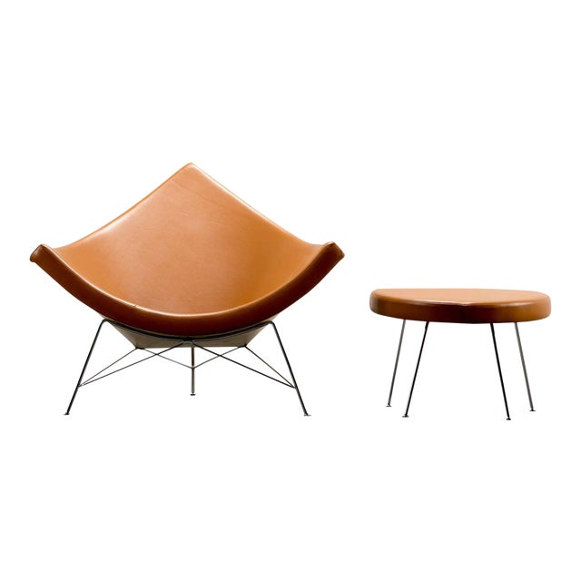 1950s George Nelson for Herman Miller Coconut Chair and Ottoman For Sale