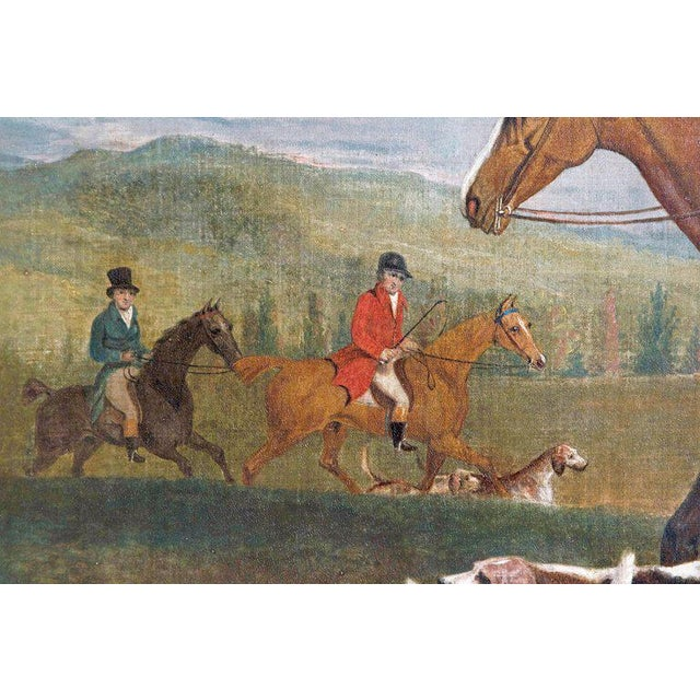 19th Century 19th Century Oil on Canvas English Hunting Scene of Rider on Horse With Hounds For Sale - Image 5 of 13