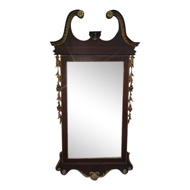Vintage Federal Style Banded Mahogany Gold Gilt Frame Mirror For Sale