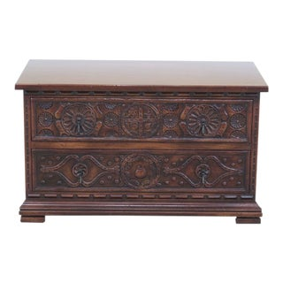 John Widdicomb Carved 2 Drawer Jacobean Accent Chest For Sale