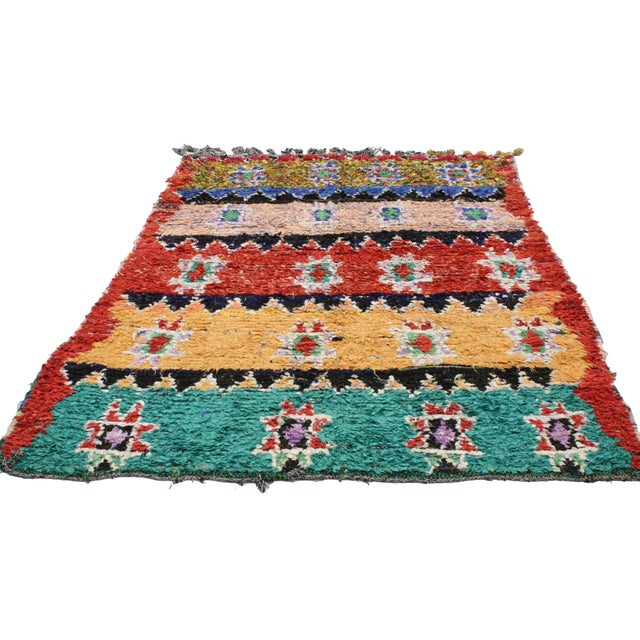 Abstract 1980s Moroccan Boucherouite Rug With Tribal Style - 4'7 X 6'2 For Sale - Image 3 of 4