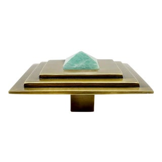 Addison Weeks Perry Square Knob, Antique Brass & Amazonite For Sale