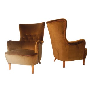 Modern Carl Malmsten Swedish High Back Vintage Lounge Chairs- A Pair For Sale