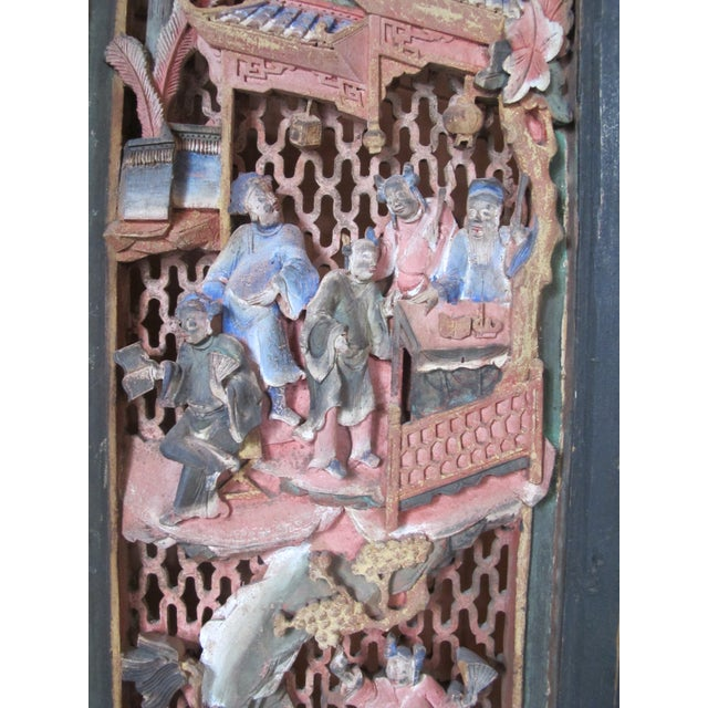 Chinese Qing Dynasty Polychrome Carved Wood 6 Panel Figural 6 Panel Screen For Sale In Portland, OR - Image 6 of 9