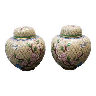 Vintage 1960's Chinese Cloisonne Cherry Blossom Motif Ginger Jars - a Pair For Sale