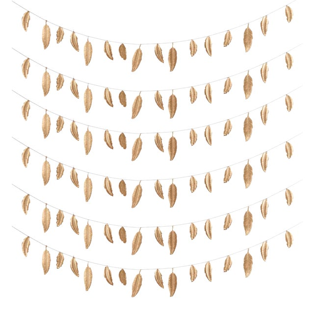 Decorative Gold Feather Garlands - Set of 6 - Image 7 of 8