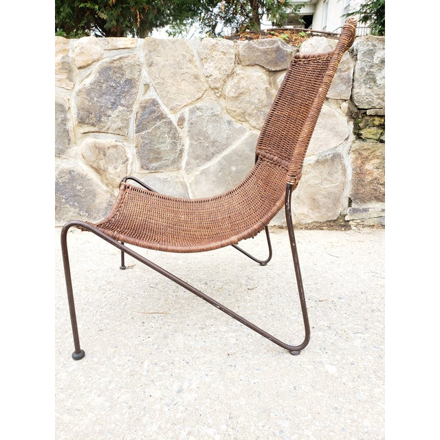 Frederick Weinberg Mid Century Frederic Weinberg Wrought Iron & Rattan Lounge Chair For Sale - Image 4 of 13