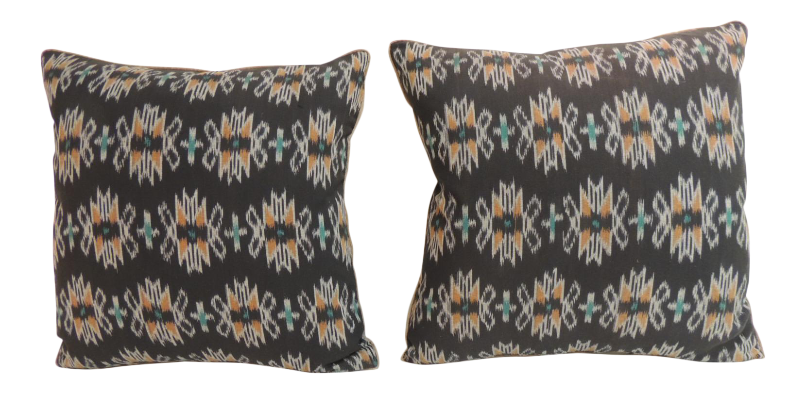 Vintage Pair Of Woven Black Ikat Decorative Pillows With Trim
