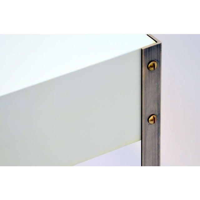 Pair of Minimalist Ivory Lacquer and Brass Nightstands-a Pair For Sale - Image 9 of 11
