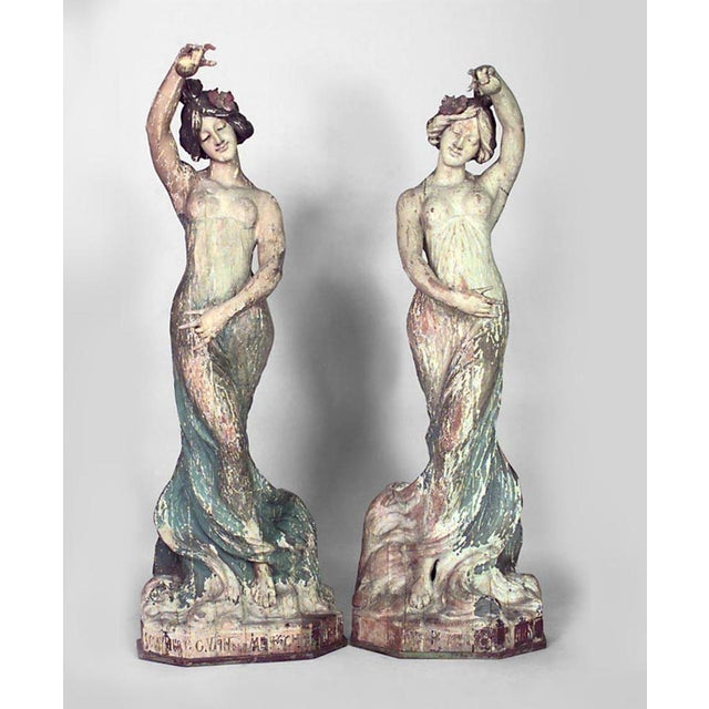 Pair of Art Nouveau Life Size Carved Wood Figures of Dancing Women For Sale - Image 9 of 9