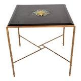 Image of Mexican Modernist Centre Table in Brass, Wood & Malachite, Pepe Mendoza Square For Sale