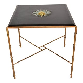 Mexican Modernist Centre Table in Brass, Wood & Malachite, Pepe Mendoza Square For Sale