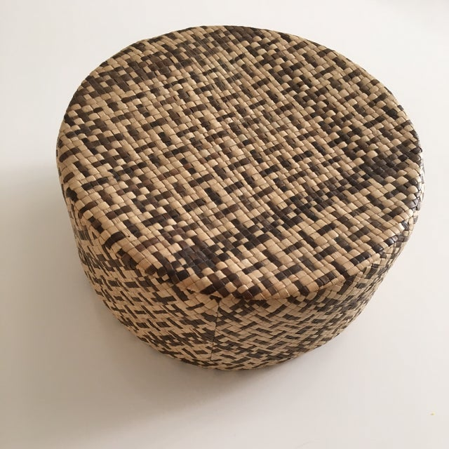 Vintage Woven African Round Box With Lid - Image 3 of 8