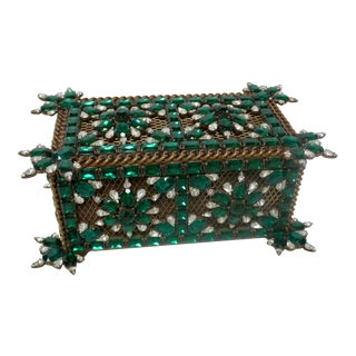 Vintage Green Swarovski Crystal Box For Sale