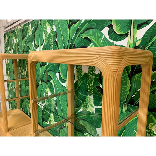 Split Reed Rattan Wall Unit in the Manner of Gabriella Crespi For Sale - Image 10 of 13