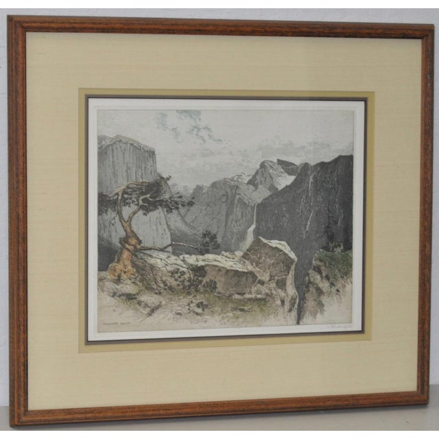Colored etching of the Yosemite Valley by Josef Eidenberger. Remarkable color etching by listed artist Josef Eidenberger....