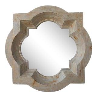 Vintage Pickled Carved Wood Octagonal Stepped Framed Mirror For Sale