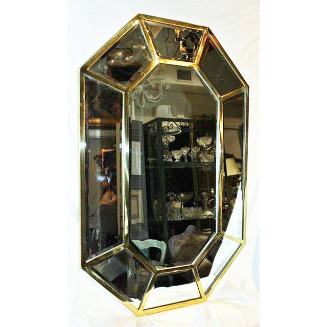 Brass Beveled Mirror-On-Mirror For Sale In West Palm - Image 6 of 8