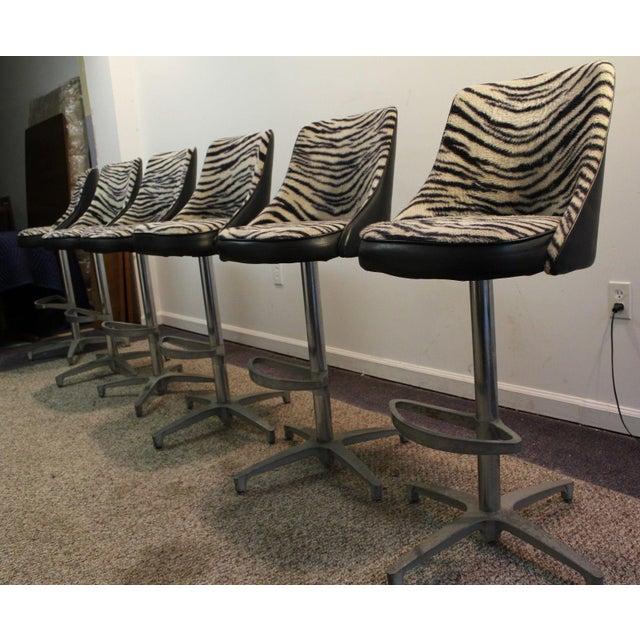 Chromcraft Mid-Century Zebra Bar Stools - Set of 6 - Image 2 of 10