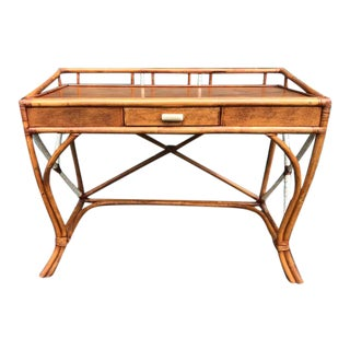 Vintage Rattan Desk With Single Writing Drawer For Sale
