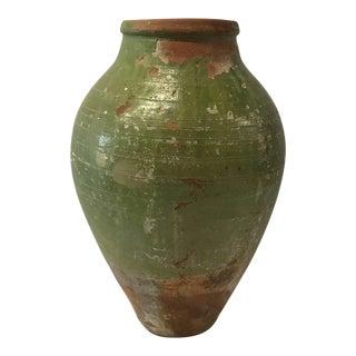 19th Century Turkish Green Glazed Terra Cotta Oil Jar For Sale