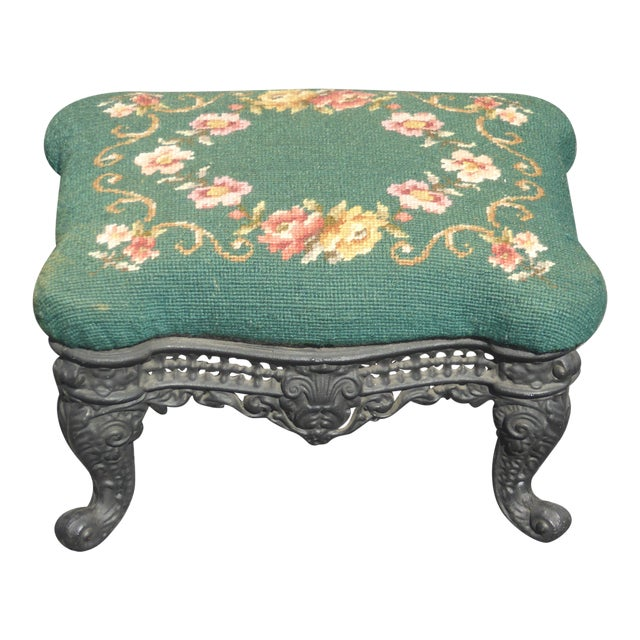 Vintage French Provincial Green Needlepoint Footstool W Ornate Cast Iron Base For Sale