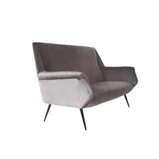 Italian Two-Seater Silver Velvet Vintage Sofa