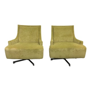 H B F Barbara Barry Pastel Green Upholstered Scoop Chairs - a Pair For Sale