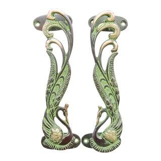 Green Brass Peacock Door Handles - a Pair For Sale