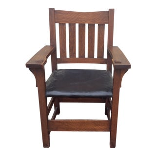 Gustav Stickley Arts & Crafts V Back Arm Chair