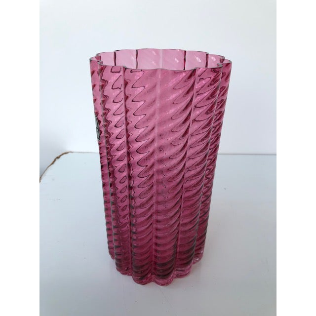 Pink 1980s Fluted Textured Pink Glass Vase For Sale - Image 8 of 8