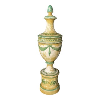Vintage Italian Hand Painted Architectural Finial Sculpture For Sale