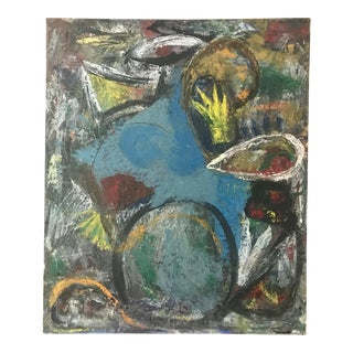 Vintage Abstract Painting Oil on Canvas For Sale