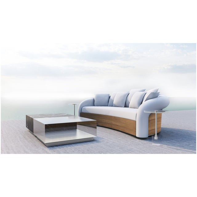 Contemporary Hollywood Collection Teak and Fabric Outdoor Sofa by Artist Hector Landgrave For Sale - Image 3 of 3