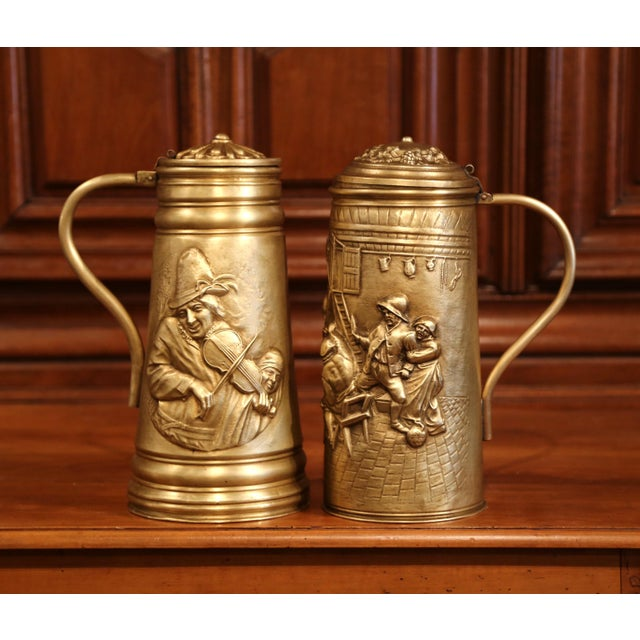 19th Century Belgium Brass Lidded Beer Pitchers With Repousse Decor - a Pair For Sale - Image 4 of 8