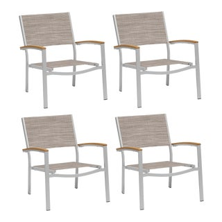 Outdoor Sling Lounge Chair, Natural and Beige (Set of 4) For Sale