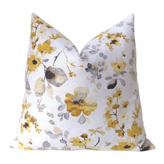 Vern Yip Yellow Grey Blossom Euro Pillow Cover 26x26 For Sale