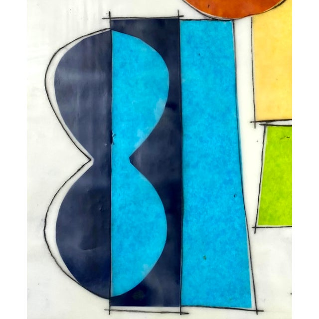"""Contemporary """"If Ever You Feel Blue"""" Contemporary Abstract Encaustic Collage Painting by Gina Cochran For Sale - Image 3 of 6"""